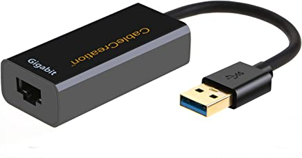 USB 3.0 Network Adapter, CableCreation Gold Plated USB to RJ45 Gigabit Ethernet Adapter Supporting 10/100/1000 Mbps Ethernet, No Driver Required, Black
