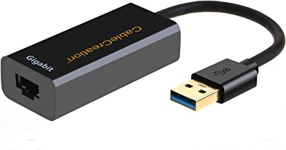 USB 3.0 Network Adapter, CableCreation Gold Plated USB to RJ45 Gigabit Ethernet Adapter Supporting 10/100/1000 Mbps Ethernet for Windows, Mac,macOS, Black