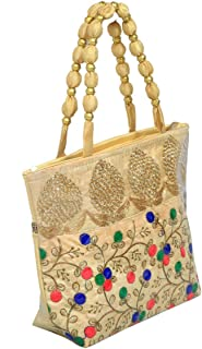 Kuber Industries Women's Silk Fully Laminated Handbag, Cream (BG24)