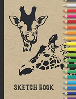 Sketch book: Large Drawing Blank Notebook Journal with Date | Great Gift for Budding Artists & Art Lovers | Giraffe Cover ...