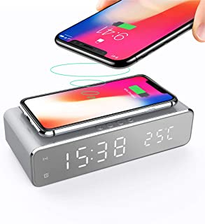 Docreate Digital Alarm Clock with Wireless Charger,LED Desk Alarm Clock with Thermometer and Time, 10W Qi-Certified Wireless Charger for Bedroom, Home & Office