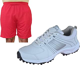 FOOTFIX Men's Ryder White Blue Cricket Shoes for Men, Cricket Sports Shoes with Free Red Shorts
