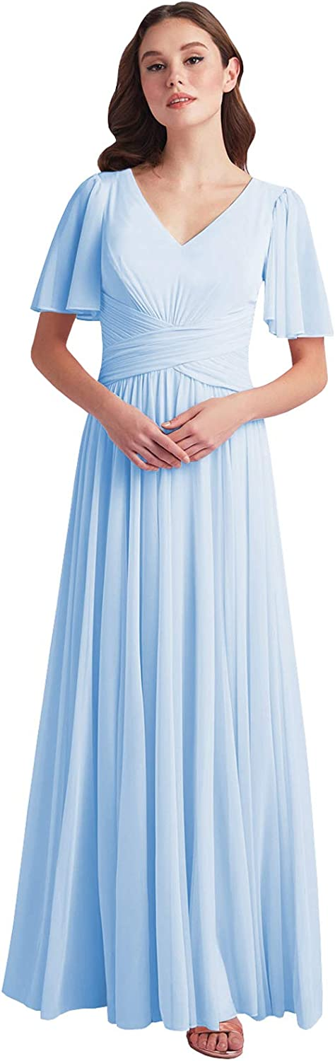 Women's V Neck Long Mother of The Bride Dress Pleated Chiffon Short Sleeve Bridesmaid Dresses Formal Evening Gown