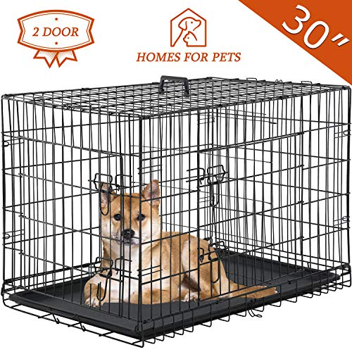 """Vnewone Large Dog Crate Dog Cage Medium Dog Kennel Animal Pet Crate Pet Cage Metal Wire Double Door Folding Fully Equipped Outdoor Indoor with Plastic Tray and Handle (30"""") Basic Crates"""