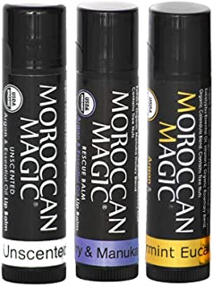 Moroccan Magic Organic Rescue Lip Balm Variety Pack Gift Set | Natural Argan and Essential Oils | Smooth | Non-Toxic Cruel...