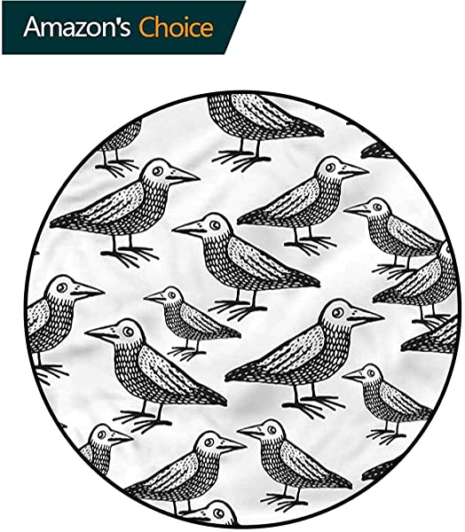 RUGSMAT Raven Round Area Rug Animals Nature Wildlife Non Slip No Shedding Kitchen Soft Floor Mat Diameter 35