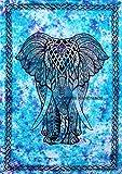 FUTURE HANDMADE Turchese Tie Dye Grande Elefante Mandala Hippie Boemo Indiano fatto a mano Gemello arazzi Camera arredamento Copriletto