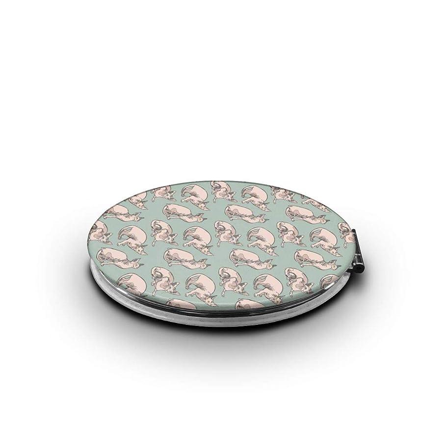 鑑定幻想的主導権携帯ミラー 丑猫ミニ化粧鏡 化粧鏡 3倍拡大鏡+等倍鏡 両面化粧鏡 楕円形 携帯型 折り畳み式 コンパクト鏡 外出に 持ち運び便利 超軽量 おしゃれ 9.0X6.6CM