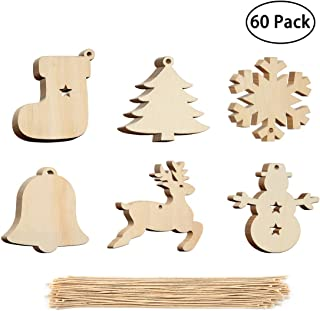 60 Pieces Christmas Wood Ornaments Wood Slices DIY Crafts Unfinished Wooden Easter Ornaments with Hemp Rope for Home Hanging Decoration (Christmas)
