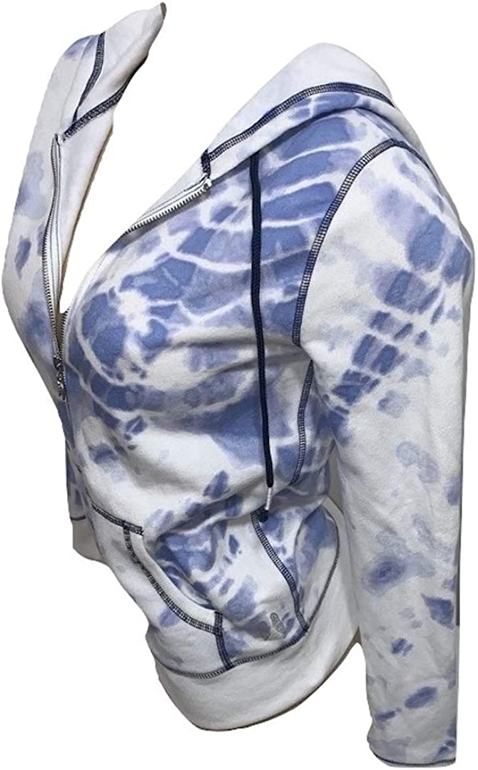 Victoria's Secret Angel Full Zip Hoodie Tie Dye Blue Size XSmall NWT