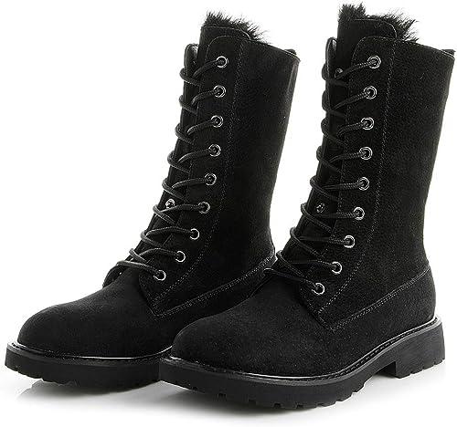 Susulv botas para la Nieve de otoño e Invierno Parte Inferior Plana Salvaje más botas Cortas de Terciopelo en el Tubo Martin botas (Color   negro)