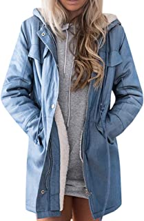 KIKOY Jean Jacket Hooded Womens Warm Casual Long Sleeve Denim Long Outwear Sale