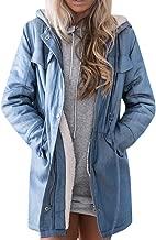 Umitay Denim Jacket Women Blue Coat Winter Overshirt Quilted Jacket Cowboy Lining Jacket Longsleeve Zipper Hoodie Coat