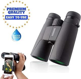 12x42 Best Compact HD Binoculars Power Shock Resistant Low Light Night Vision Scope Waterproof Fogproof Binocular Goggles Hunting Bird Watching Comfortable Non Slip Bag and Phone Adapter