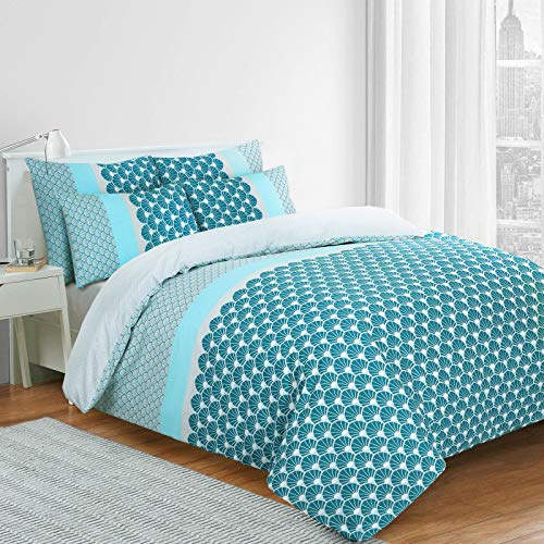 Nimsay Home Azure Scallop Seashell Scales 144 Thread 100% Cotton Duvet Cover Bedding Set (Blue, King)