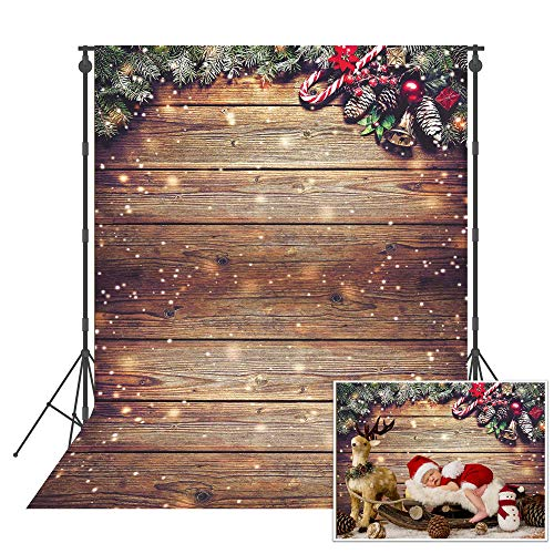 Msocio 5X7ft Snowflake Glitter Christmas Wood Wall Photography Backdrop Xmas Rustic Barn Vintage Wooden Floor Background for Christmas Birthday Party Kids Portrait Photo Studio Photobooth Props
