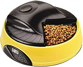 Q-pets PA4TPFL1 Automatic 4 Tray Pet Feeder with LCD Display, Yellow