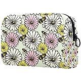 Bolsa de maquillaje de viaje con diseño de margaritas vintage y flores y abejas, bolsa de maquillaje grande, organizador con cremallera para mujeres y niñas