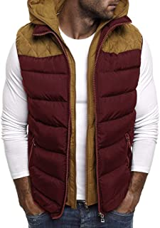 Mens Padded Gilet QUINTRA Hooded Autumn and Winter Thick Warm Down Cotton Vest Vest Lightweight Jacket Easy to Store Coat ...