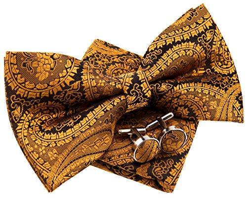 Retreez Herren Gewebte vorgebundene Fliege Paisley Kunst Muster 13 cm und Einstecktuch und Manschettenknöpfe im Set, Geschenkset, e - gold auf schwarz
