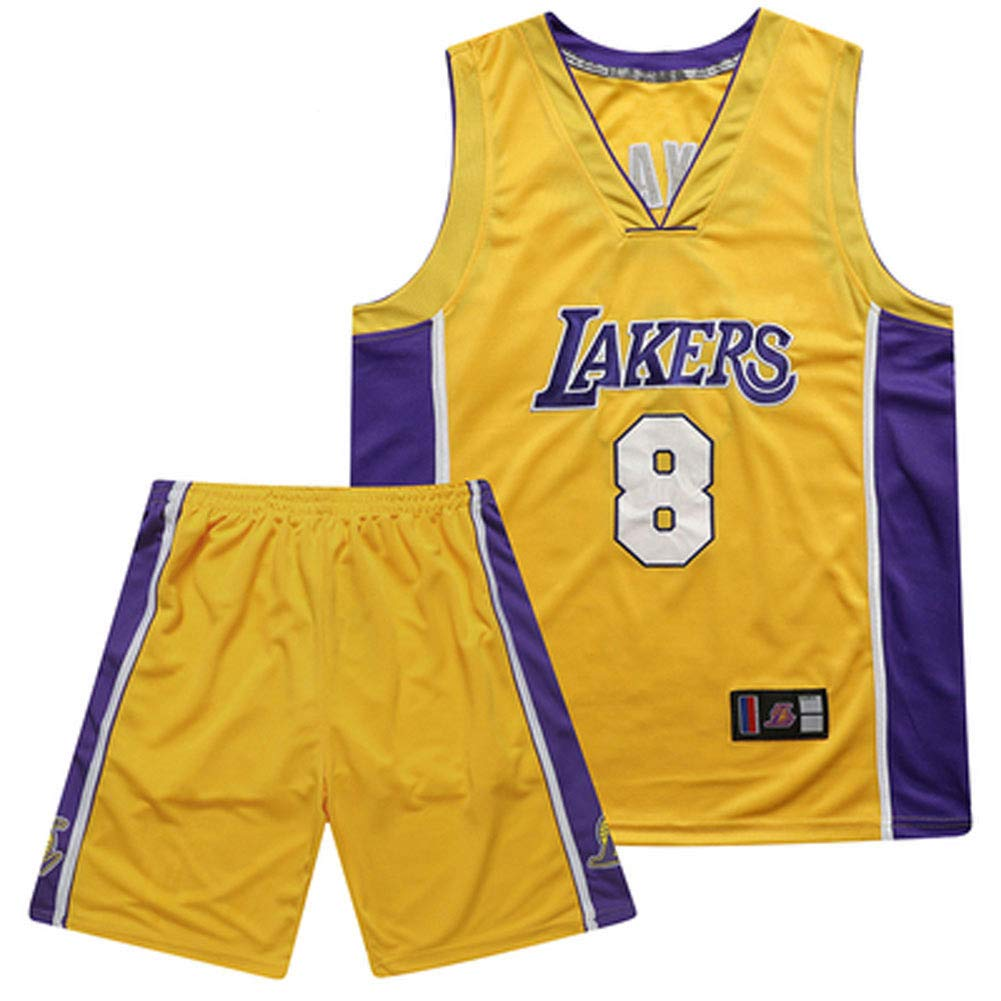 Lakers #33 Kareem Abdul-Jabbar Camiseta de Baloncesto Uniforme de Baloncesto de Verano Tops Bordados Traje de Baloncesto Chaleco Deportivo sin Mangas de Secado R/ápido Transpirable,Azul,S