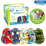 Optho-Patch Kids Eye Patches - Fun Boys Design - 60 + 10 Bonus Latex Free Hypoallergenic Cotton Adhesive Bandages for...