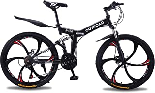 Max4out Mountain Bike Folding Bike, 21 Speed Shining SYS Double Disc Brake Suspension Fork Rear Suspension Anti-Slip (Black, 26 in)