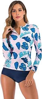 Wellwits Women's Floral Leaf Print Zipper Long Sleeves Rash Guard Swimsuit