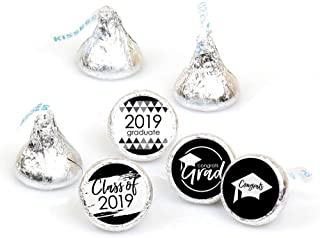 Big Dot of Happiness Black and White Grad - Best is Yet to Come - Black and White 2019 Graduation Party Round Candy Sticker Favors - Labels Fit Hershey's Kisses (1 Sheet of 108)