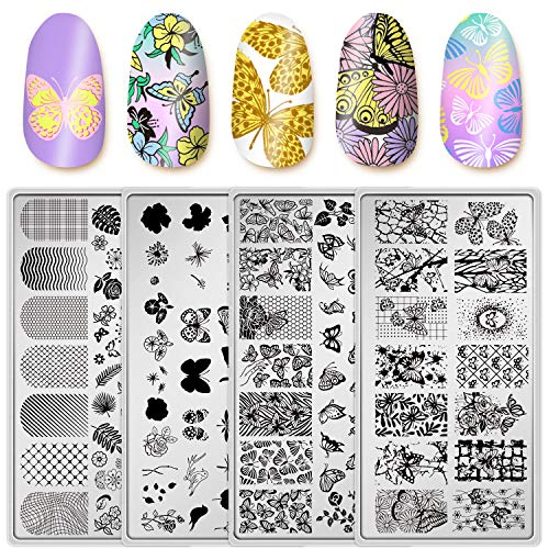 Adurself 4 Pieces Butterfly Nail Art Stamping Plates Nail Image Stamp Templates Kit with Flowers Butterfly Image Plates DIY Stainless Steel Nail Image Polish Template Kit Manicure Stencils Tools