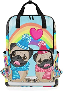 DEZIRO Lovers Pug Dogs Mochila Casual con patrón de arcoíris