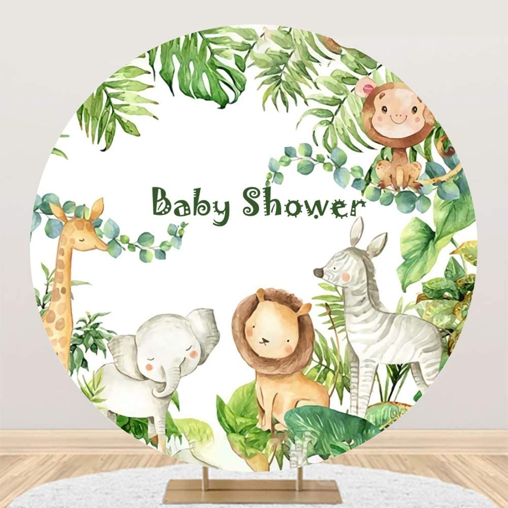Yeele Safari Baby Shower Round 7x7ft Cartoon Backdrop Max 40% OFF Store Polyester