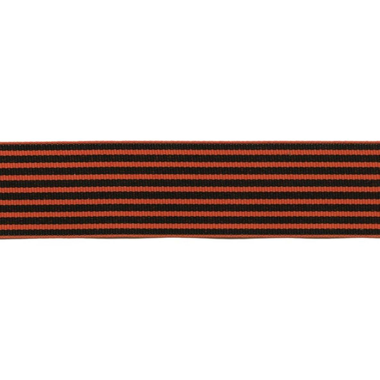 May Arts 1.5 Inch Grosgrain Stripes Ribbon, 30 yd, Orange/Black