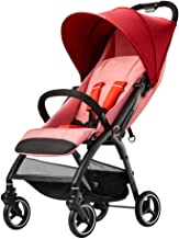 Yyqx Sillas de Paseo Cochecito Ligero Puede Sentarse y acostarse Paraguas Plegable de la Carretilla Ultraligera portátil de Coche de bebé en el avión del Carro de bebé (Color : Red)