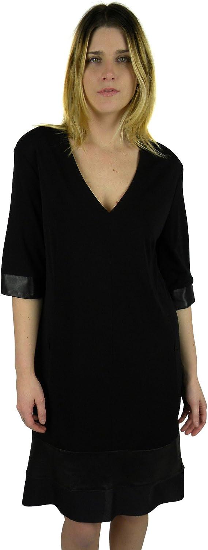 Joeffer Caoc Womens Leather Trim V Neck 3 4 Sleeve Dress