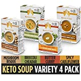 Keto Soup with Bone Broth Variety Pack by Kettle and Fire, Pack of 4, Spicy Cauliflower, Butter...