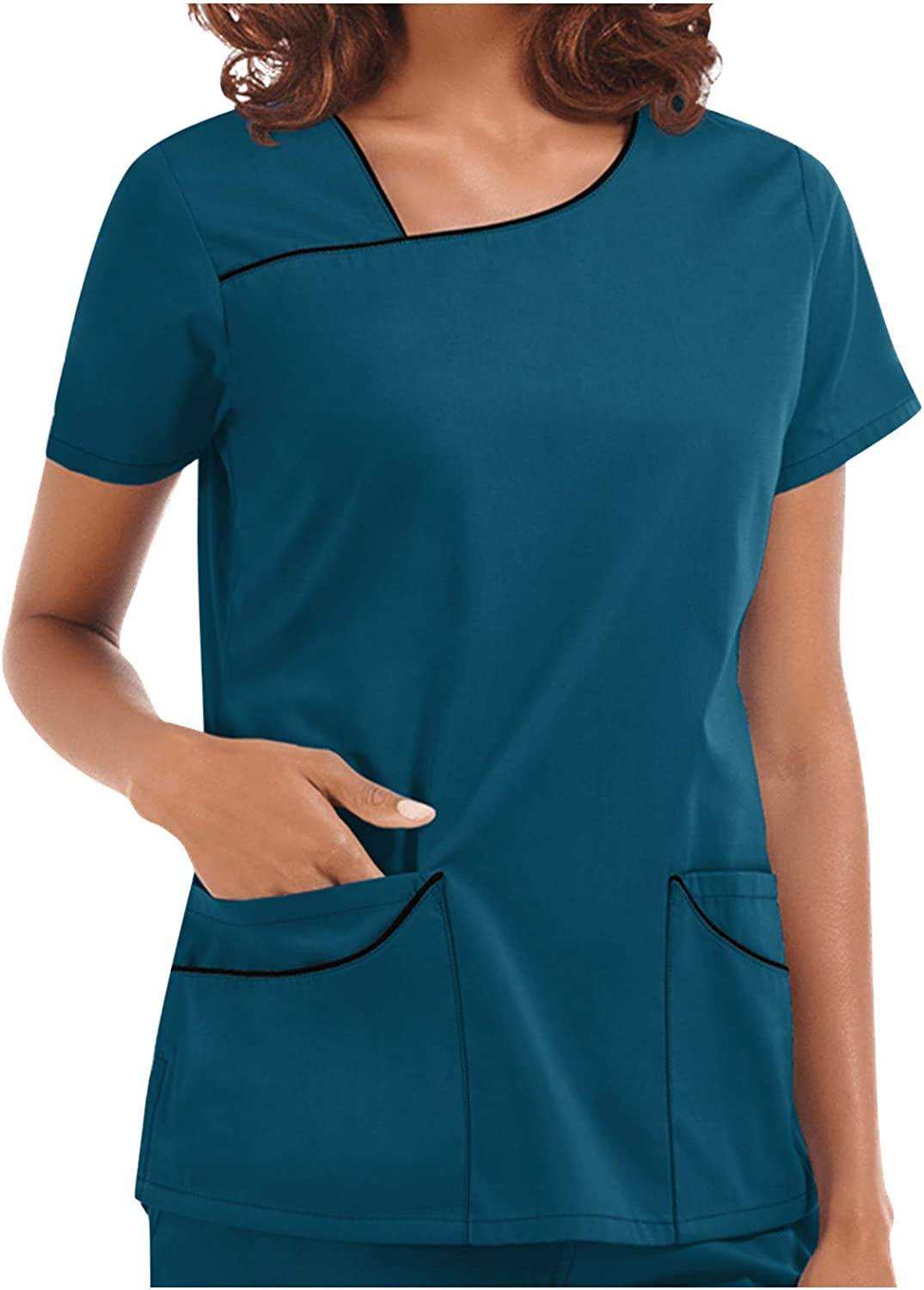 Sinzelimin Women's Nurse Shirts Fashion Solid Short Sleeve Working Uniform Care Workers Blouse T-Shirt with Pocket