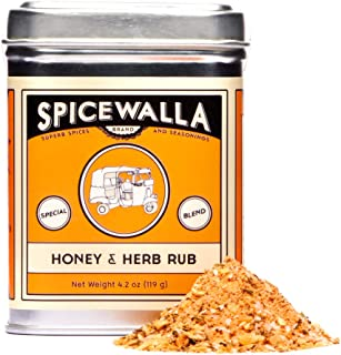 Spicewalla Honey and Herb Salmon Rub 4.2 oz   Garlic, Salt, Brown Sugar, Basil, Black Pepper   Non-GMO, GLuten Free, No MSG