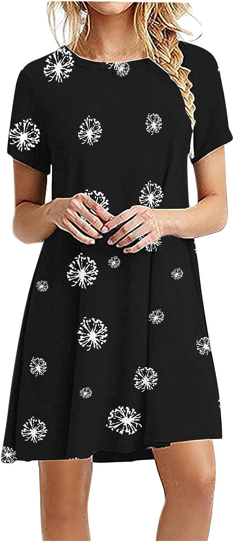 Toeava Tank Dresses for Women, Women Dresses Summer Short Sleeve O-Neck Print Holiday Swing Solid Ladies Loose Mini Dress
