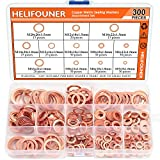 Copper Washer Assortment Set, HELIFOUNER 300 Pieces 12 Sizes Copper Metric Sealing Washers Kit