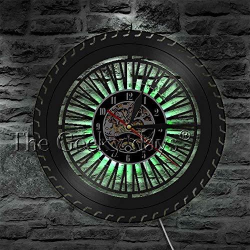 UIOLK Servicio de Coche diseño de Rueda Que Cambia de Color lámpara de Pared LED reparación mecánica Reloj de Pared iluminación Decorativa