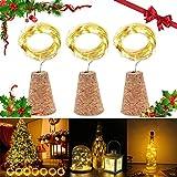 3個セット コルクストリングライト LEDイルミネーションライト ワインボトルライト 防水 3種の点灯モード 15LED電球 コルクの栓型 パーティー 結婚式 クリスマス DIY飾り 装飾用 (ウォームホワイト)