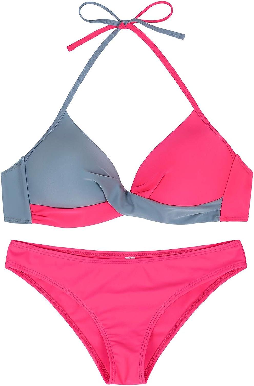 HenzWorld Women High Waited Bikini Swimsuit 2 Piece Bathing Suit