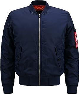 HDH Bomber Jacket,Men Casual Softshell Collarless Jackets Lightweight Zipper Coat Stand Collar Windbreaker Jackets M-6XL