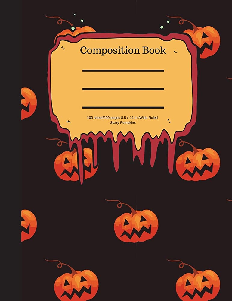 ライラック予報手首Composition Book 100 sheet/200 pages 8.5 x 11 in.-Wide Ruled- Scary Pumpkins: Halloween Notebook for Kids | Student Journal | Spooky Writing Composition Book | Scary Writing Notebook |Soft Cover Notepad