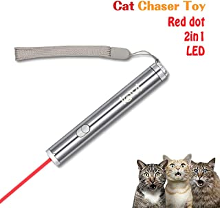 Newest Version Laser Pointer Cat Toy Interactive,2 in 1 Chaser Toy With Red Dot and Flashlight to Scratching Training Tool For Cat(Silver01)