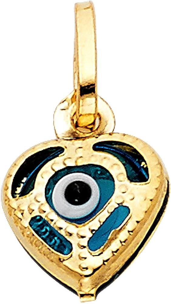 14k Yellow Gold Evil Eye Pendant Tucson Mall New Shipping Free Shipping Heart