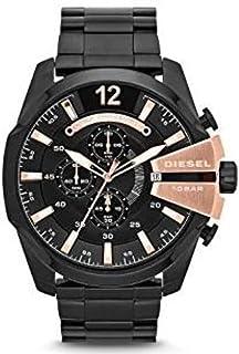 Diesel Mega Chief Men'S Black Dial Stainless Steel Band Watch Dz4309, Japanese Quartz, Analog