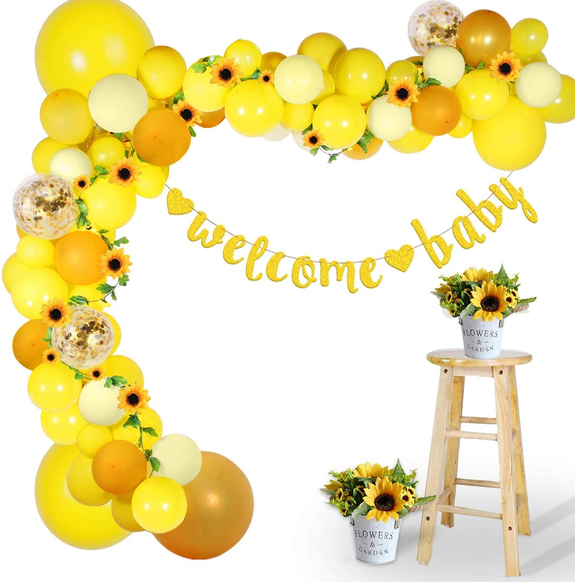 Sunflower Baby Shower Decorations for Girl Boy, Sunflower Balloon Garland Kit with 100 Balloons, Gold Color Banner, Flower Vine, Yellow Balloon Arch Kit for First Sunflower Birthday, Bee Theme Party
