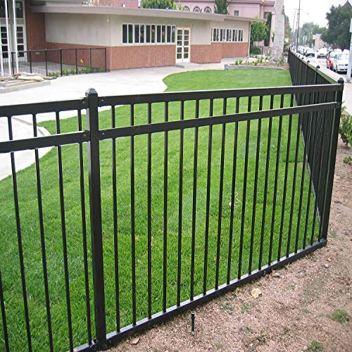 XCEL - Black Steel Fence Panel Style Easy Installation Fence Kit, Outdoor Fencing for Yard, Garden, 3-Rail Rackable, Include a Fence Post, Powder-Coated Metal (Traditional)